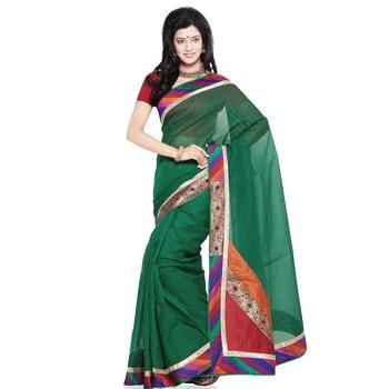 Ethnic Design Super Net Pure Cotton Saree N Blouse