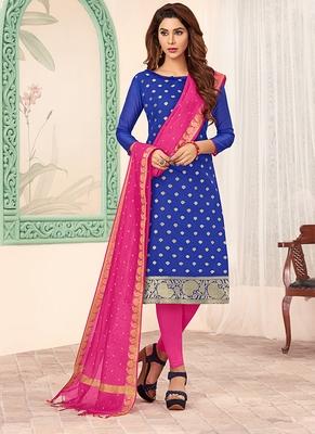 blue embroidered art silk unstitched salwar with dupatta
