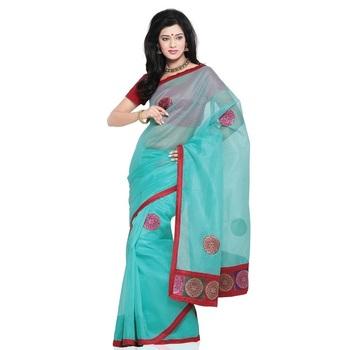 Designer Cotton Super Net Material Saree Blouse