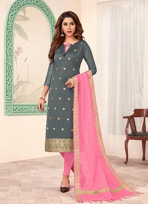 grey embroidered art silk unstitched salwar with dupatta