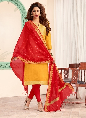 yellow embroidered art silk unstitched salwar with dupatta