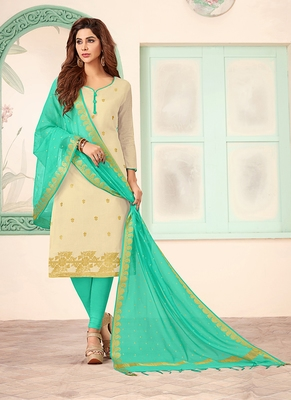 cream embroidered art silk unstitched salwar with dupatta