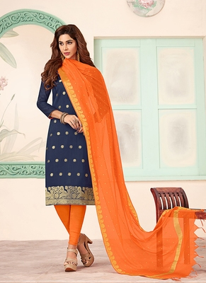 blue embroidered art silk unstitched salwar with dupatta