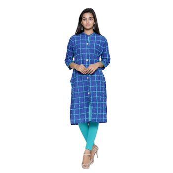 Royal-blue printed cotton cotton-kurtis