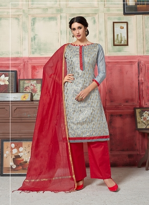 grey embroidered jacquard unstitched salwar with dupatta