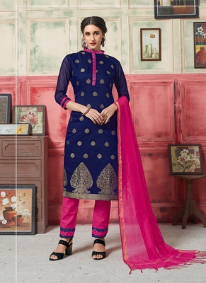 blue embroidered jacquard unstitched salwar with dupatta