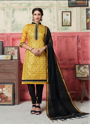 yellow embroidered jacquard unstitched salwar with dupatta