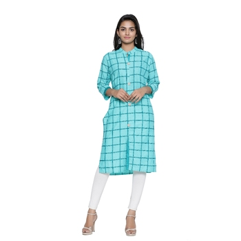 Sea-green printed cotton cotton-kurtis