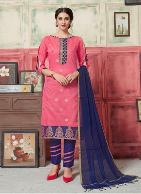 pink embroidered jacquard unstitched salwar with dupatta