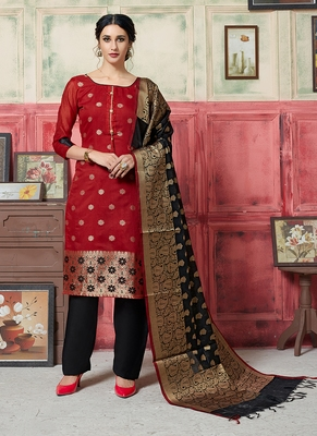 red embroidered jacquard unstitched salwar with dupatta
