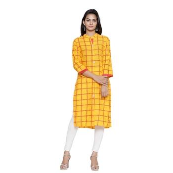 Yellow printed cotton cotton-kurtis