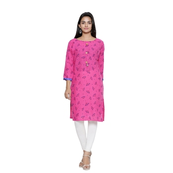 Pink printed cotton cotton-kurtis