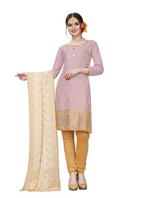 purple embroidered cotton unstitched salwar with dupatta