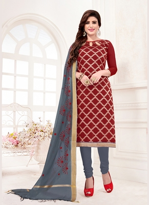 maroon embroidered jacquard unstitched salwar with dupatta