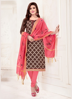brown embroidered jacquard unstitched salwar with dupatta