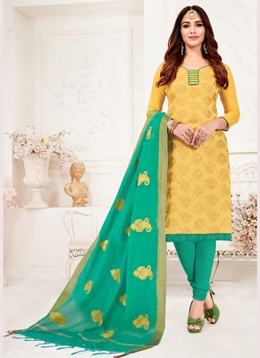 mustard embroidered jacquard unstitched salwar with dupatta