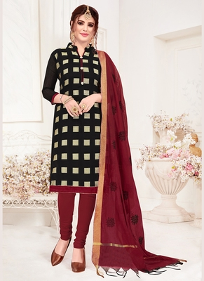 black embroidered jacquard unstitched salwar with dupatta