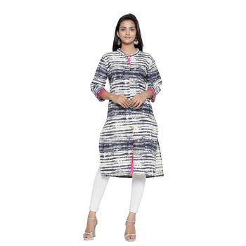 Off-white printed cotton cotton-kurtis