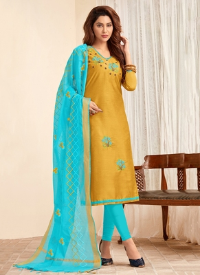mustard embroidered cotton unstitched salwar with dupatta