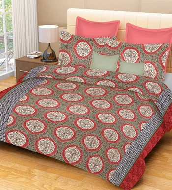 multicolor jaipuri Printed  heavy king size Double Bedsheet With Two pillow Covers