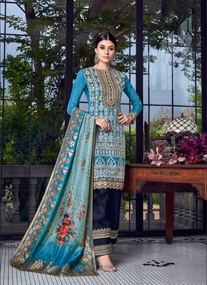 blue embroidered silk semi stitched salwar with dupatta