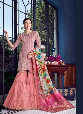pink embroidered silk semi stitched salwar with dupatta