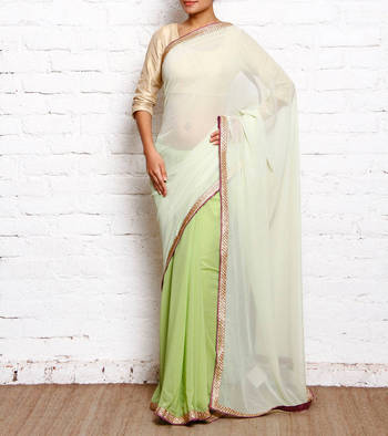 59b748634d pista green plain Faux Georgette saree with blouse - Alina Couture - 412086