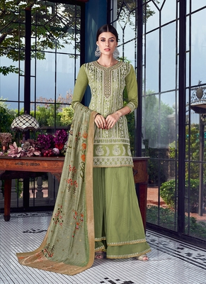 green embroidered silk semi stitched salwar with dupatta