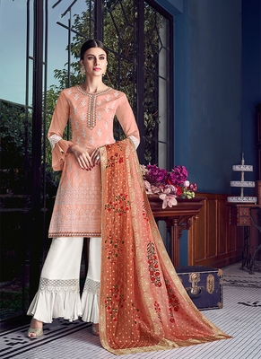 peach embroidered silk semi stitched salwar with dupatta