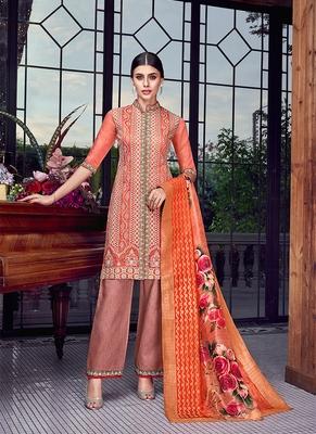 orange embroidered silk semi stitched salwar with dupatta