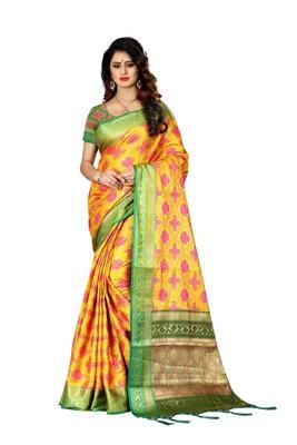 Yellow woven art silk sarees saree with blouse