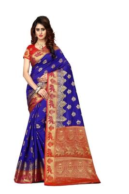 Blue woven art silk sarees saree with blouse