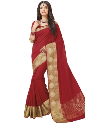 Red woven raw silk saree with blouse