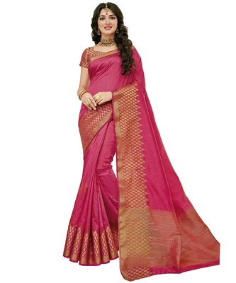 Pink woven raw silk saree with blouse