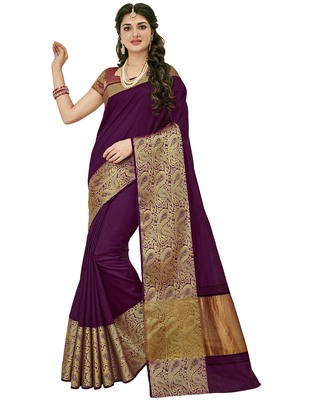 Purple woven raw silk saree with blouse
