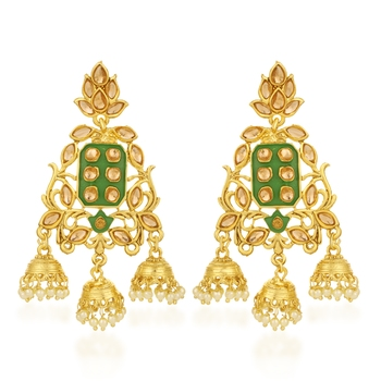 Green pearl earrings