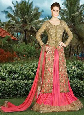 Coral embroidered net semi stitched lehenga