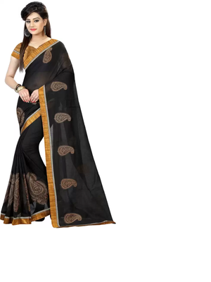 Black Cotton Embriodered Saree With Lace and Blouse Piece.