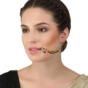 Multicolor cubic zirconia nose-ring