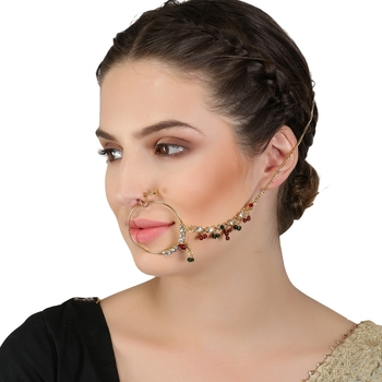 Multicolor cubic zirconia nose-ring