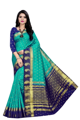 Light blue woven pure silk saree with blouse