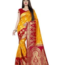 Yellow woven pure silk saree with blouse