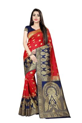 Red woven pure silk saree with blouse