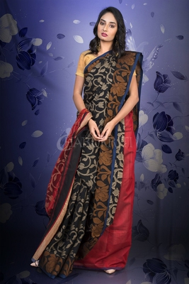 BLACK BLENDED COTTON JAMDANI WITH RED PALLU