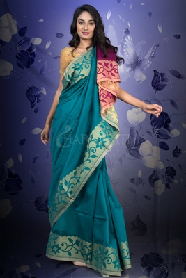 OCEAN BLUE AND PLUM BLENDED SAREE WITH JAMDANI BORDER