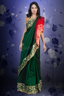 PINE GREEN AND RED BLENDED SAREE WITH JAMDANI BORDER