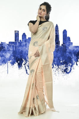 PEARL BEIGE EMBROIDERED BLENDED SILK WITH ZARI BORDER