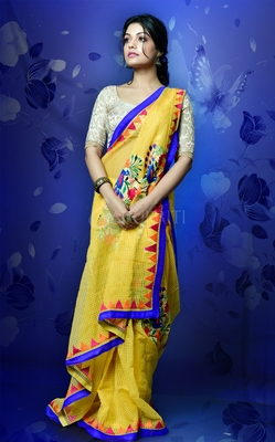 PINEAPPLE RESHAM CHECK SAREE WITH EMBROIDERY WORK