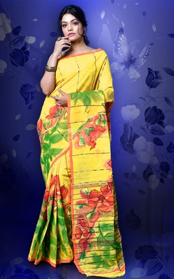 YELLOW ORGANIC COTTON SAREE WITH ALL OVER HAND PAINTING