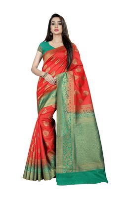 Orange woven pure silk saree with blouse